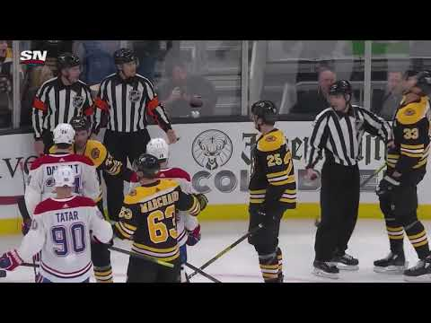 Zdeno Chara cross checks Brendan Gallagher in the face, BOTH get called for roughing