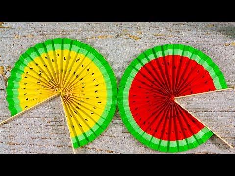Cute Paper Pop Up Fans | DIY Watermelon Hand Fans | Activities Craft for Kids