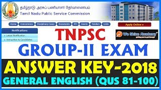 TNPSC Group 2 Answer Key 2018 | General English | Question 81 - 100 | We Shine Academy