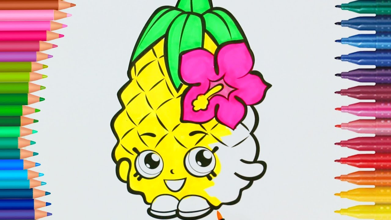 Shopkins Ananas çizgi Film Karakteri Boyama Sayfası Minik