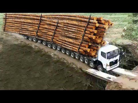Amazing Dangerous Biggest Logging Wood Trucks Operator Skill. Oversize Load Heavy Equipment Working