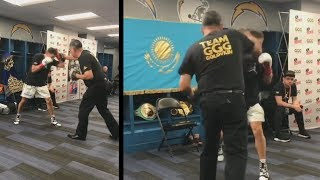 Gennady Golovkin hitting the mitts backstage | GGG vs Martirosyan TODAY! | TWT