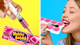 SNEAKING SNACK INTO CLASS! || DIY Edible School Supply by 123 Go! GOLD