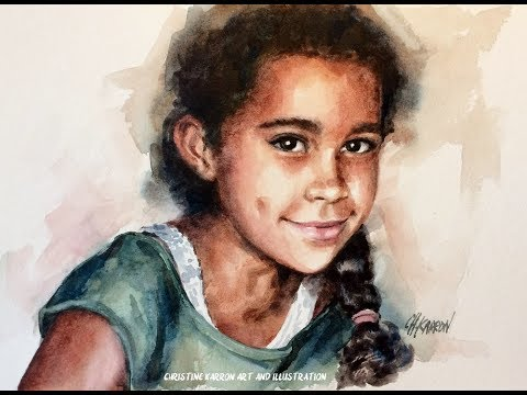 Watercolor portrait darker skin EXTENDED version 4 colors only painting demo
