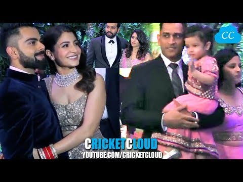 Dhoni Dada Sachin Rohit & many Cricketers at Virat Anushka Reception !! HD VIDEO