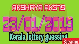 #AKSHAYA AK379 23/01/2019 Kerala lottery guessing