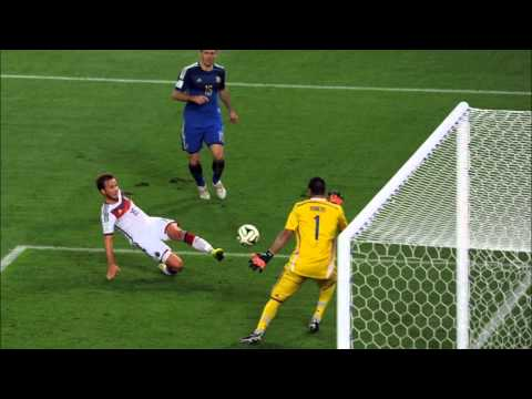 Germany's 2014 World Cup Final Goal Scored By Mario Götze Commentated in German, Spanish & English
