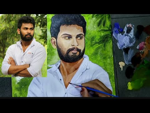 mazavil manorama serial actor Prasad Chandran l portrait painting