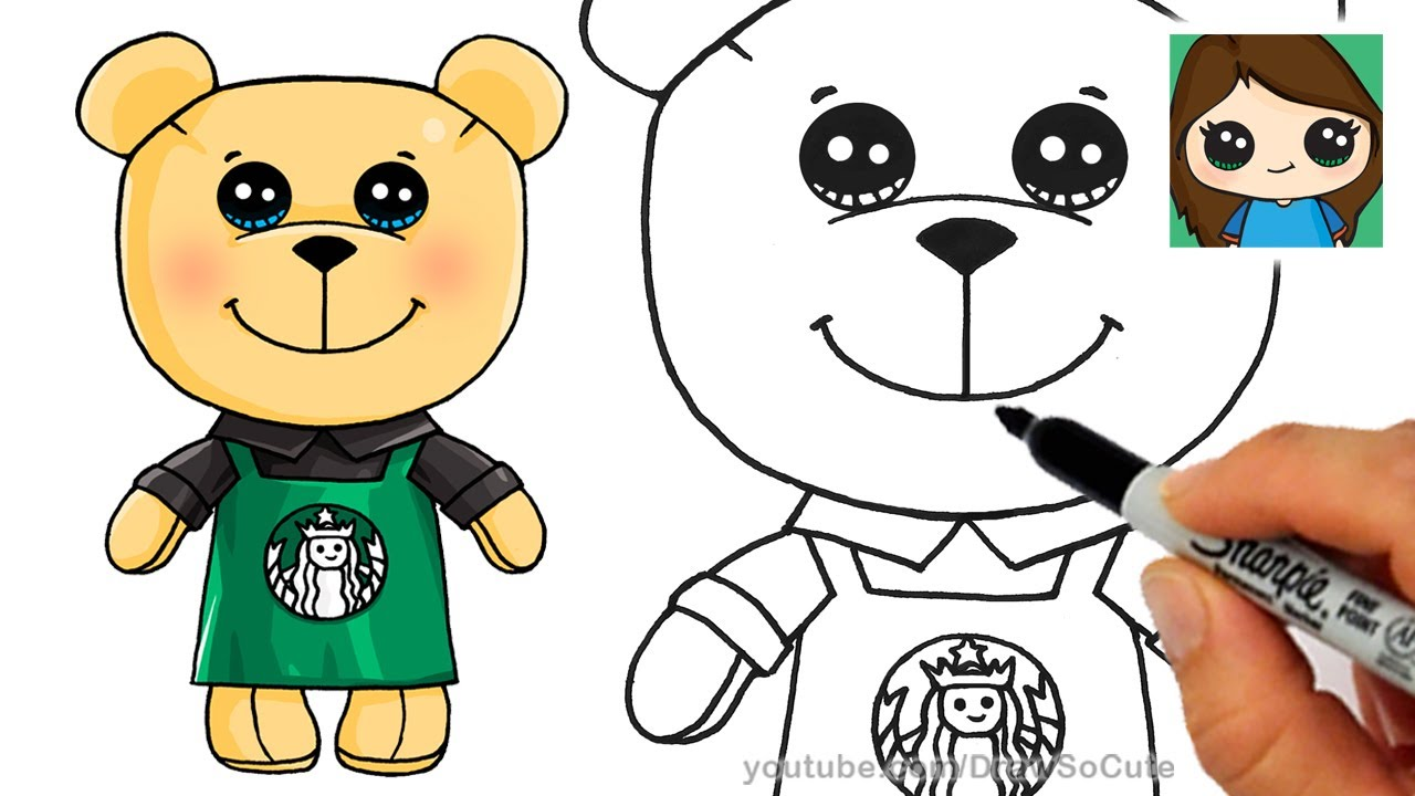how to draw a cute bear  starbucks  youtube