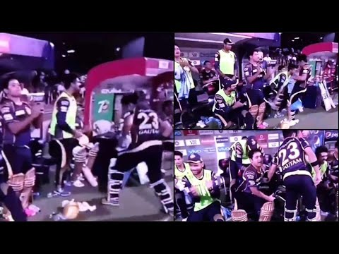 Gautam Gambhir kicks chair, abuses to celebrate KKR win over RCB | Oneindia News