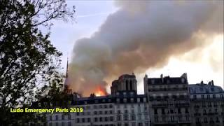 Pompiers de Paris en urgence incendie Notre Dame Paris Fire Dept responding major Fire at Notre Dame