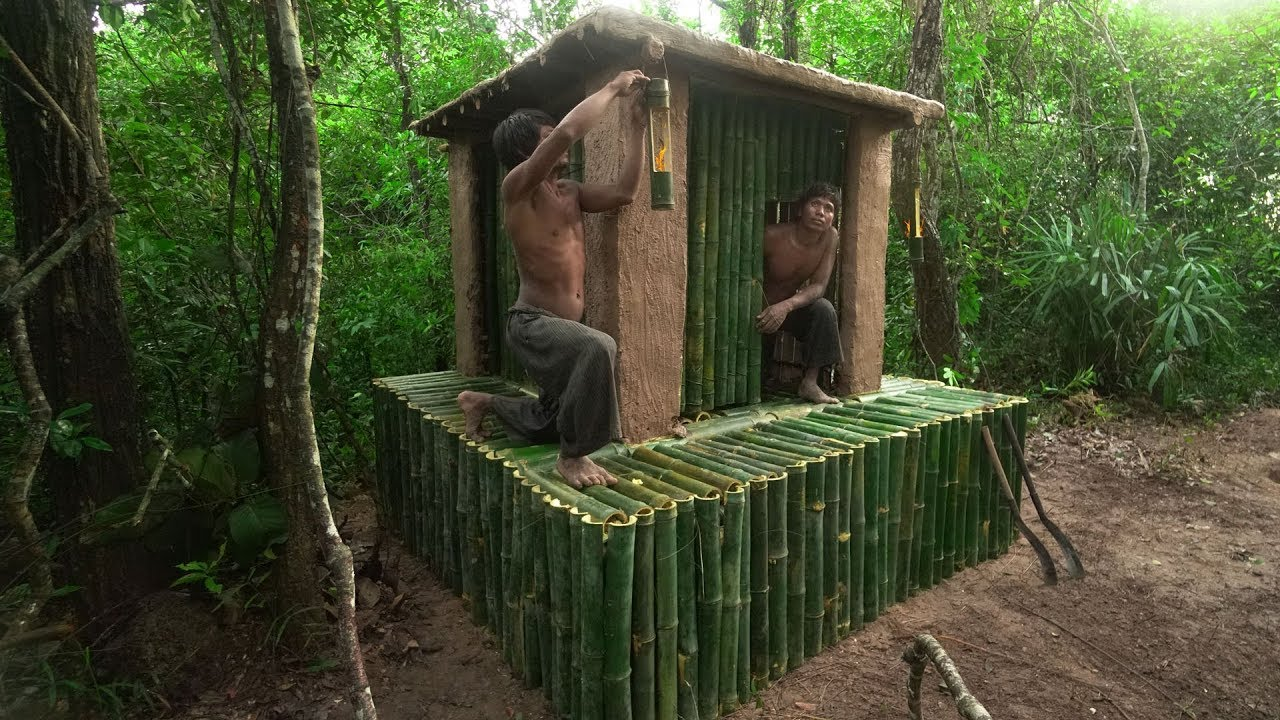 Building The Most Beautiful Bamboo House Villa Roof Mud