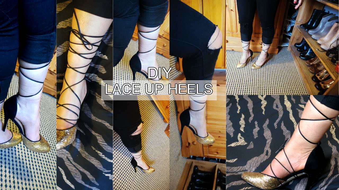 77fbe049860e DIY LACE UP HEELS WITH SHOE LACES - YouTube