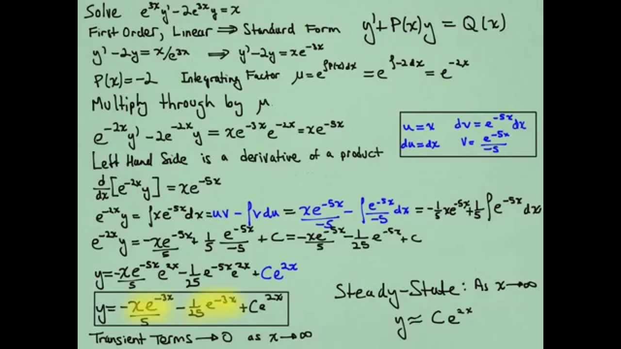 2a First Order Linear Differential Equation Example 1 With