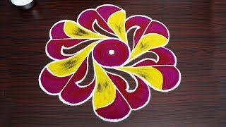 Creative colour rangoli design Simple kolam designs with 9x5 dots new muggulu patterns