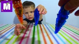 Микро-робот личинка Ларва игрушка распаковка Micro-robot toy unpacking larva(Распаковка робо - жука личинка, играем червями Микро-робот