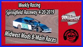 S03 E185 Midwest Mods B-Main Races - Weekly Racing Springfield Raceway 4-20-2019 #DirtTrackRacing