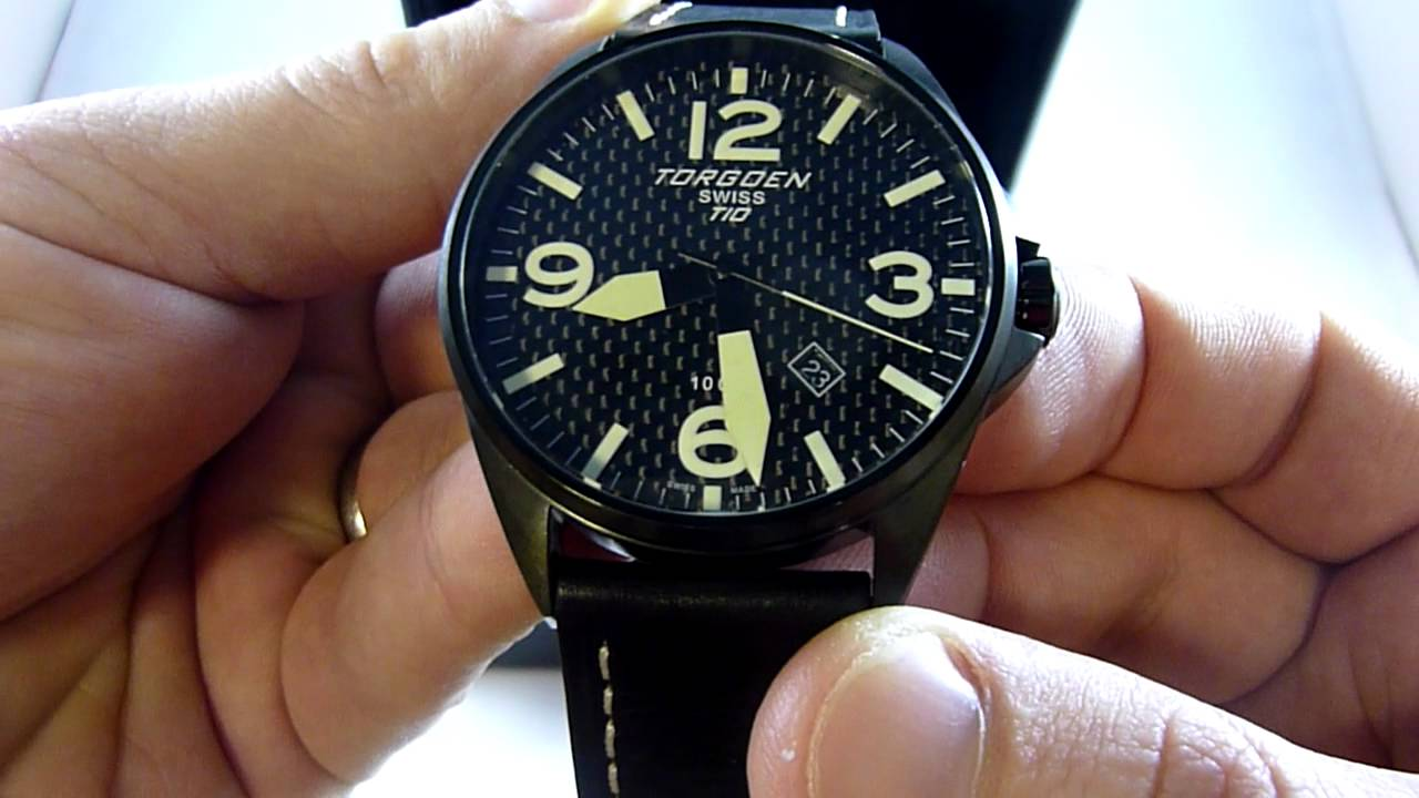 031f2743ecb Torgoen Swiss Mens T10 Carbon Faced Wrist Watch T10105 - YouTube