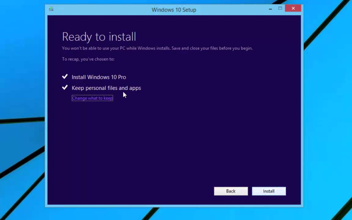 upgading and installing windows 10 using the media