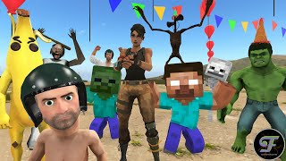 Download lagu siren head Vs Granny Vs minecraft | BabyNoob Birthday | Pubg Animation