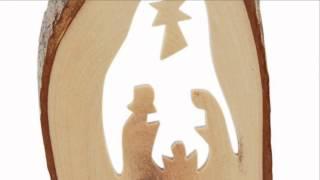 Olive Wood Bark Nativity Ornament