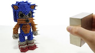 Monster Magnets Vs Sonic The Hedgehog | DIY How To Make Sonic With Magnetic Balls