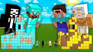Minecraft NOOB vs PRO: BATTLE ONE BLOCK INSIDE CASTLE HACKER GOD IN VILLAGE! 100% TROLLING 1 BLOCK