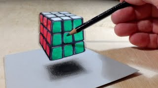 Drawing Floating Rubik's Cube - How to Draw 3D Rubik's Cube - Trick Art on Paper