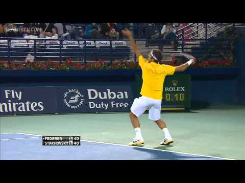 Roger Federer 4 aces in a row vs Stakhovsky in 2011 Dubai Open