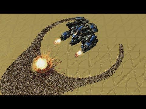 REAL Size THOR vs 3000 MARINES - Starcraft 2 MASSIVE Battle