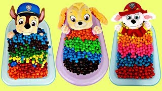 Compilation of Learning Colors with Paw Patrol Chase, Skye, Marshall & Gumball, Candy Baths