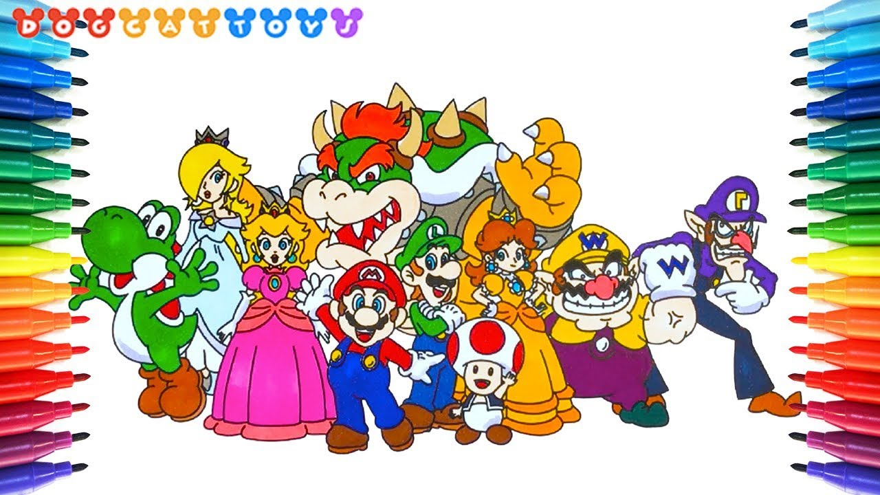 How to Draw Super Mario Characters #24  Drawing Coloring Pages Videos for  Kids