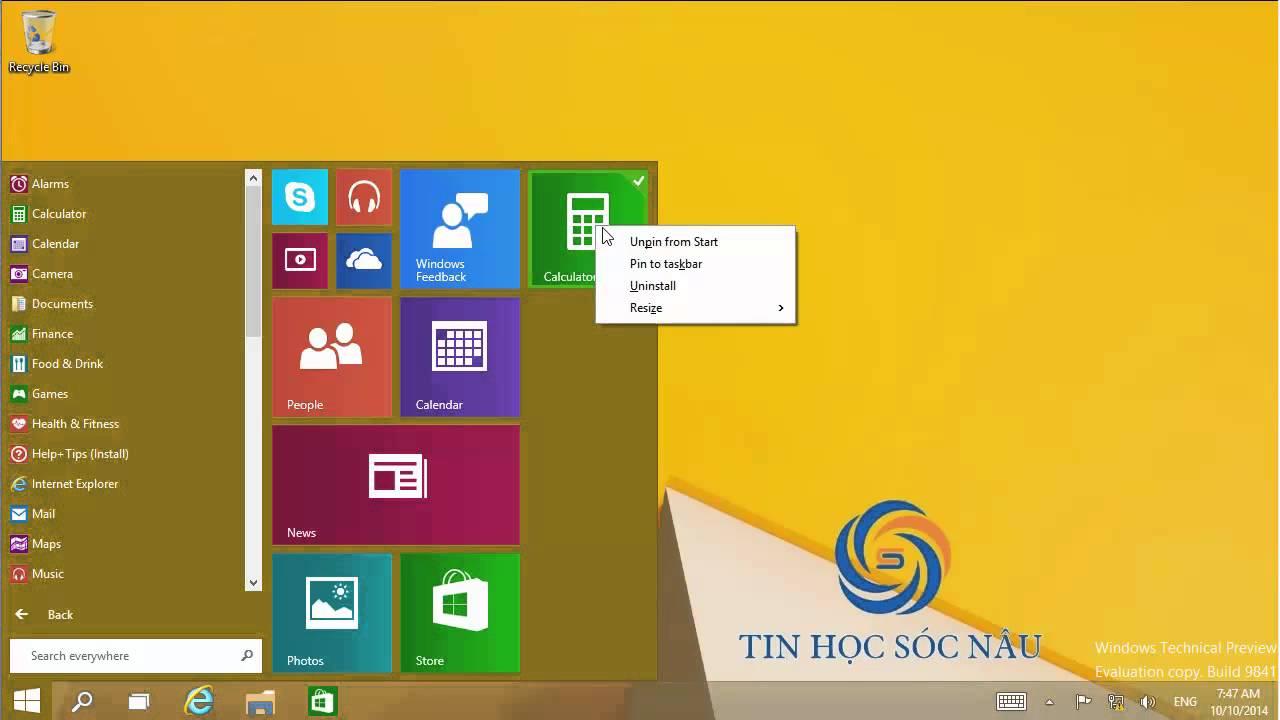Sắp xếp ứng dụng Start Menu trong Windows 10