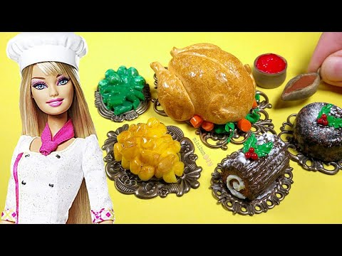 DIY Barbie Doll food! How to make easy miniature dollhouse Christmas Dinner - Turkey, cake & more🎄