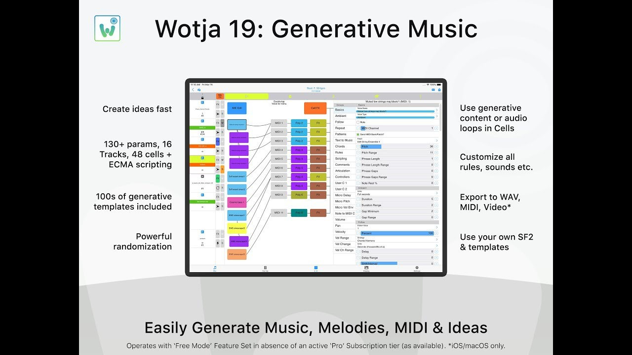 Wotja Generative Music App | iOS tvOS macOS Windows Android | Free