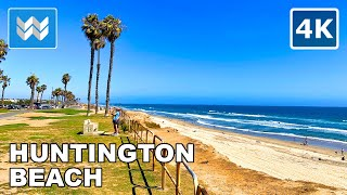 [4K] Huntington Beach, California - Blufftop Park to Pier Walking Tour & Travel Guide 🎧 Binaural