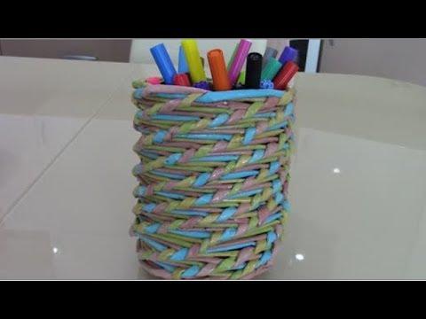 Подставка для карандашей. Спиральное плетение.