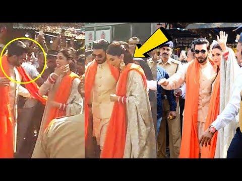 Ranveer Singh SAVES Wife Deepika Padukone from CRAZY FANS outside Siddhivinayak Temple
