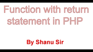 function with return statement in php
