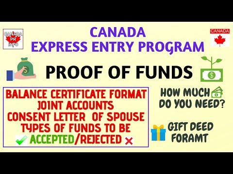 Proof Of Funds|Canada Express Entry Program 2020|Format Of Balance Certificate| PF Letter| Gift Deed