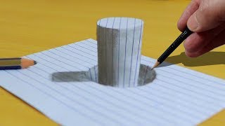 Line Paper Stick in the Hole   3D Trick Art on | Drawing 3D Art