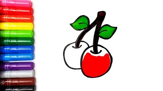 Drawing cherries coloring and glitter paint art for kids and toddlers | Color Time Kids Art