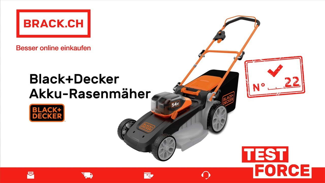 brack ch test force nr 22 black decker akku rasenm her f r das erste mal youtube. Black Bedroom Furniture Sets. Home Design Ideas