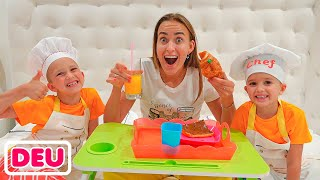 Vlad und Niki machen Frühstück für Mama