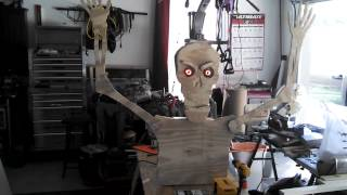 Animated Plywood Skeleton With Lighted Led Eyes