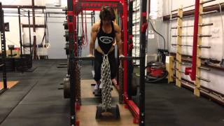 Gillian Ward Weighted Dips 150lbs of chains x 6 reps at BW of 143lbs