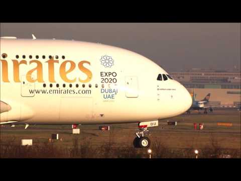 FULL HD Emirates Airline A380-861 A6-EDU London Gatwick taxi and departure with ATC radio