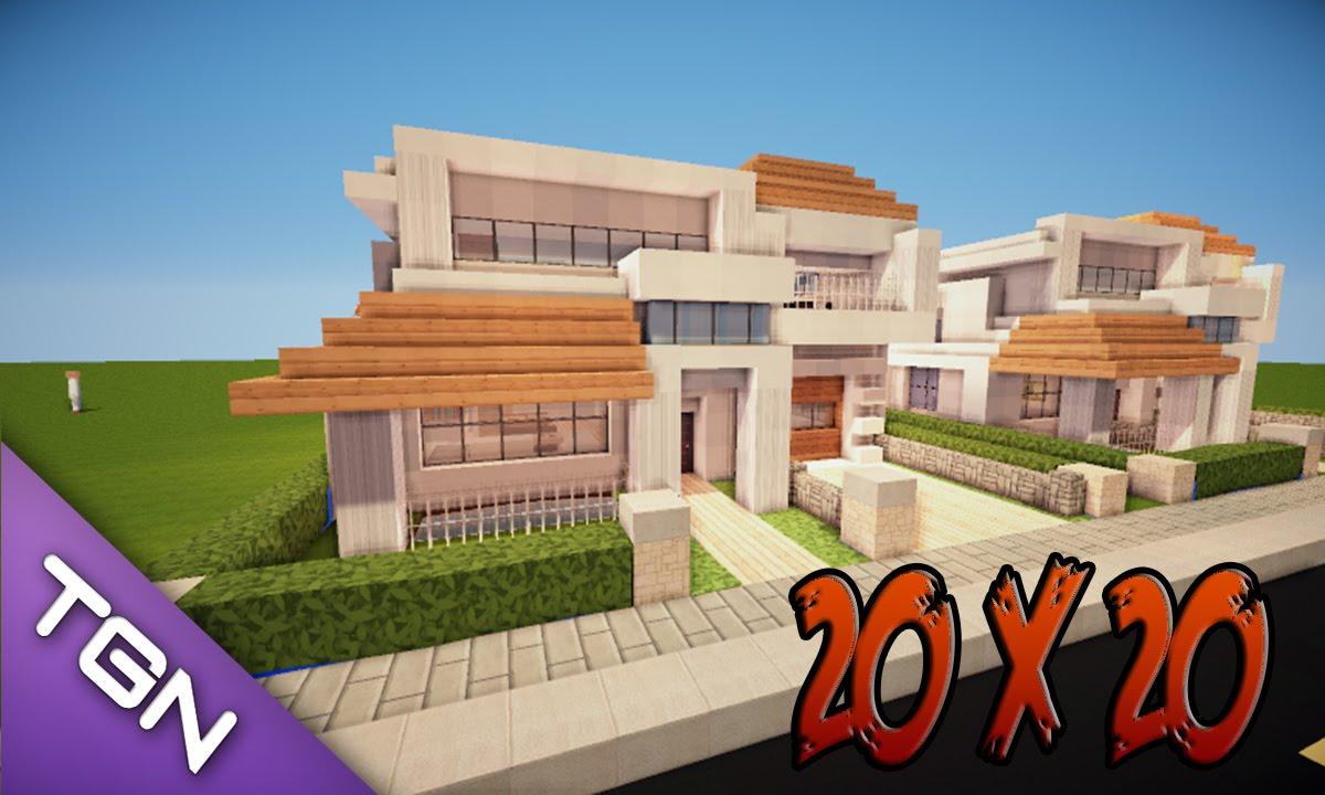 Minecraft como hacer una casa moderna 20x20 youtube for Casas modernas grandes minecraft