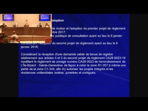 Séance du conseil d'arrondissement Île Bizard du 5 Février 2018