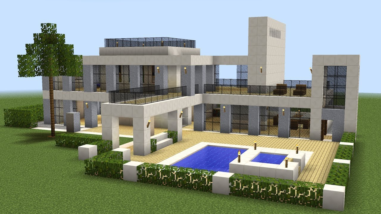 Minecraft how to build a modern house 18 youtube for How to build a modern home